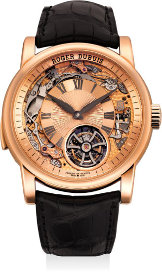 An impressive limited edition pink gold semi-skeletonized minute repeating flying tourbillon wristwatch with original presentation box and certificate of authenticity, No. 5 of 20