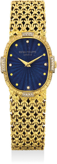 A lady's very rare and highly attractive yellow gold and diamond-set wristwatch with blue guilloché enamel dial and integrated bracelet