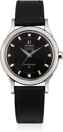 A very rare and exceptional white gold wristwatch with black dial and diamond-set numerals