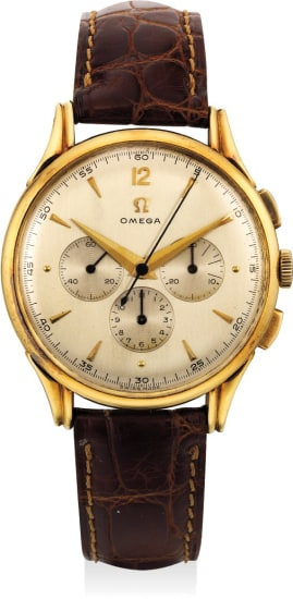 A fine and attractive yellow gold chronograph wristwatch fluted lugs