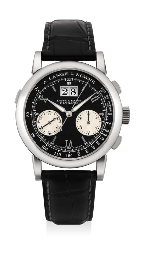 A fine and attractive platinum chronograph wristwatch with presentation box and guarantee