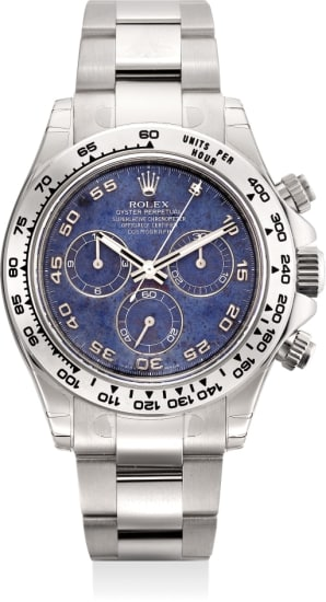 A fine and very rare white gold automatic chronograph wristwatch with blue sodalite dial, bracelet, Guarantee and box