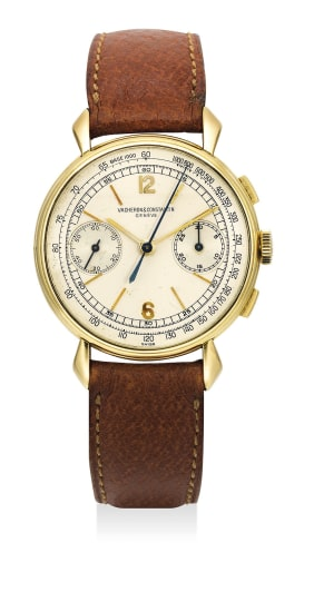 A very fine and rare yellow gold chronograph wristwatch