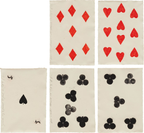 Seven Diamonds March 17 1989; Ten Hearts March 23 1989; Jack of Spades April 11 1989; Six Clubs March 14; and Five Clubs March 13