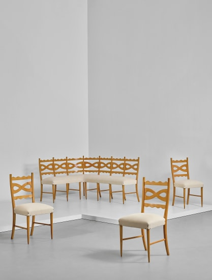 Corner banquette and three side chairs