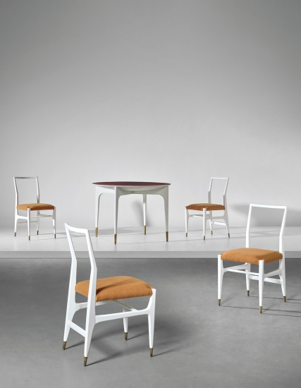 Rare dinette table and set of four side chairs