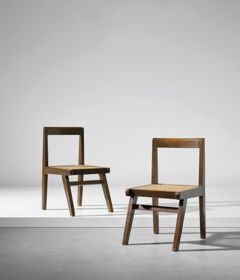 Pair of chairs, model no. PJ-SI-15-A, designed for the Himalayan Hostel cafeteria and private residences, Chandigarh