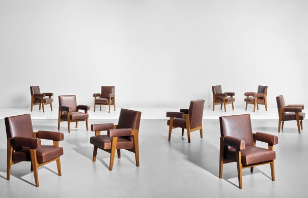 Set of ten 'Advocate and Press' armchairs, model no. LC/PJ-SI-41-A, designed for the High Court, Chandigarh