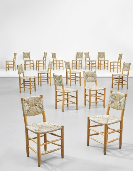 Set of sixteen dining chairs, model no. 19, from 'L'Équipement de la Maison' series, Grenoble