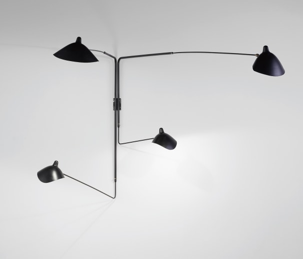 Pivoting four-armed wall light with 'Lampadaire' and 'Casquette' shades