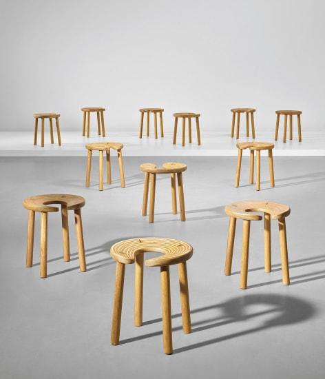 Set of twelve 'Sauna' stools, designed for the Palace Hotel, Helsinki