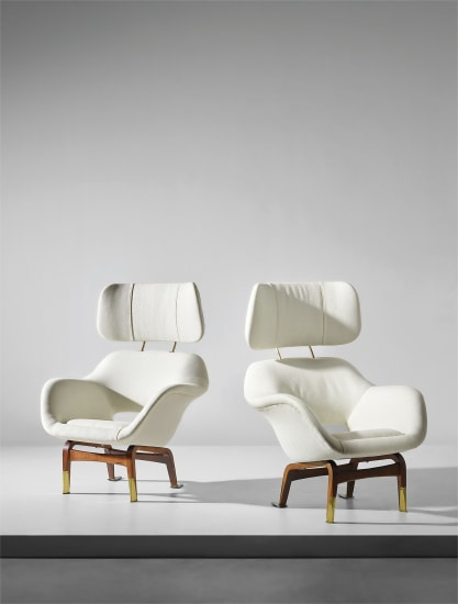 Pair of rare armchairs with headrest, designed for the Hotel Marski, Helsinki