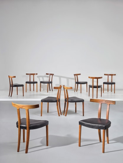 Set of ten 'T' dining chairs