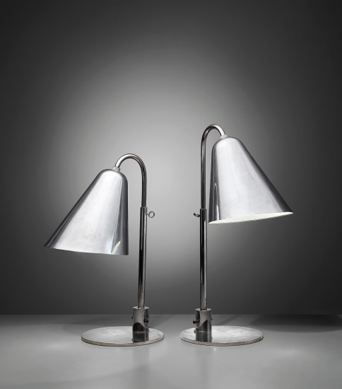 Pair of early and large adjustable table lamps