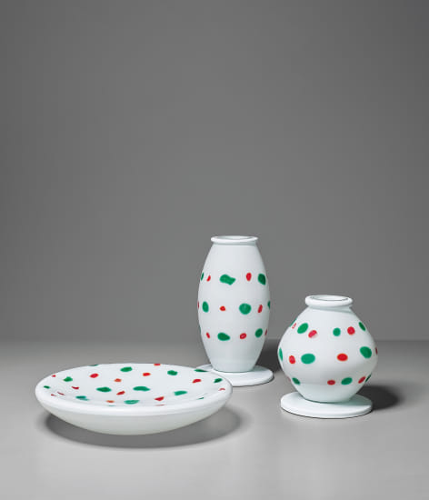 Rare set of two vases and one dish, from the 'Orsete' series