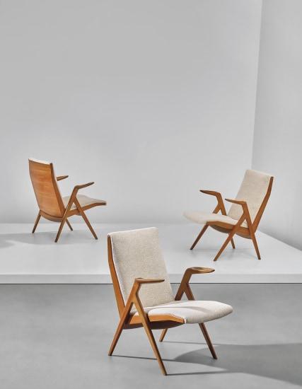 Rare set of three armchairs, designed for the 'Prima Mostra Selettiva', Cantù