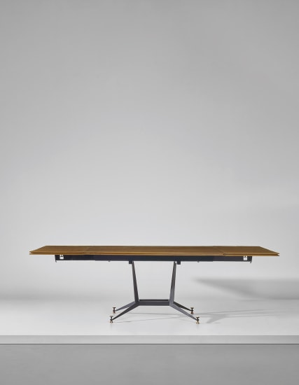 Rare extendable dining table, from an interior of an apartment block designed by the architect, Milan