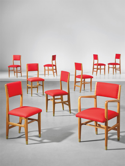 Set of eight side chairs and one armchair, designed for the public administration offices, Forlì