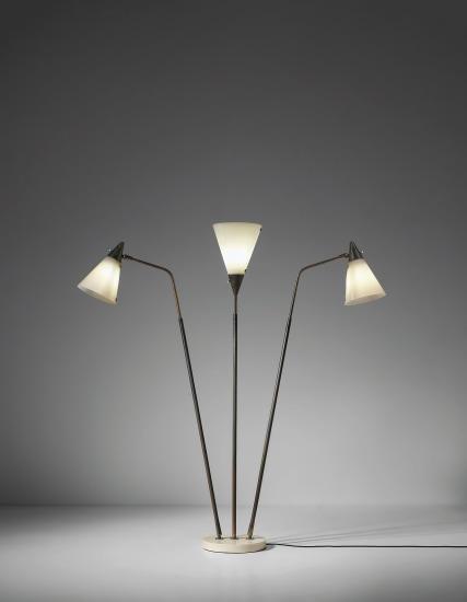 Three-armed adjustable standard lamp, model no. 339