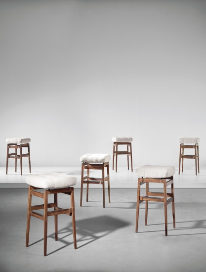 Set of six bar stools, designed for the Hotel Parco dei Principi, Rome