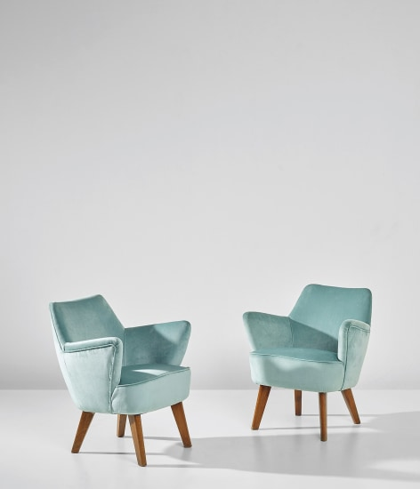 Pair of armchairs, designed for the first class ballroom of the 'Conte Biancamano' ocean liner