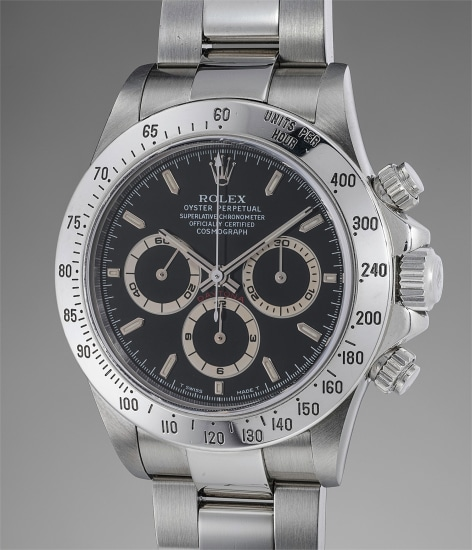 A rare and attractive stainless steel chronograph wristwatch with bracelet, guarantee and presentation box