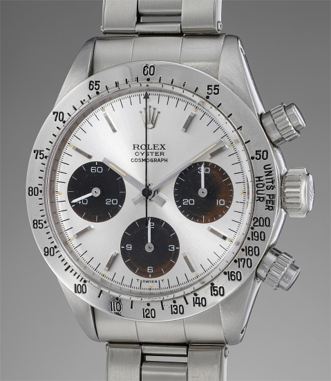 """A rare and attractive stainless steel chronograph wristwatch with brown """"tropical"""" registers and bracelet"""