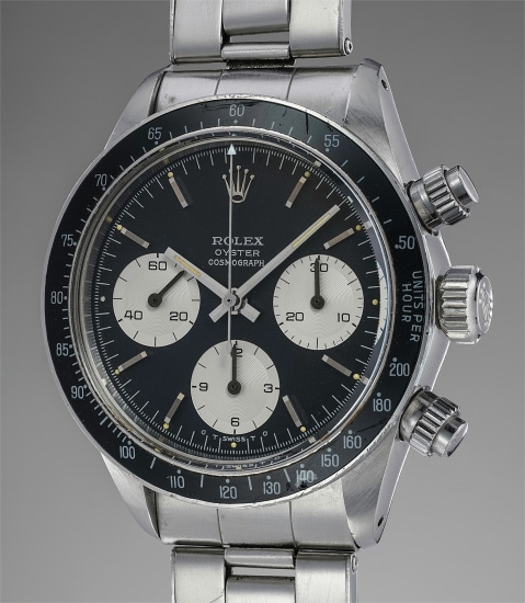 """A rare and well-preserved stainless steel chronograph wristwatch with black """"sigma"""" dial and bracelet"""