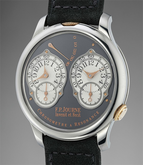 A fine and rare limited edition titanium dual time wristwatch with double escapement