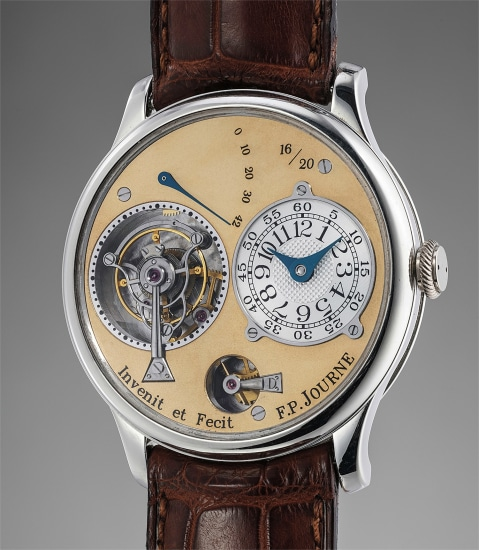 A very attractive, limited edition platinum tourbillon souscription wristwatch with remontoire, accompanied by original invoice and presentation box