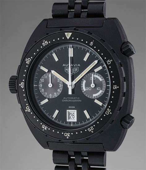 A very rare and attractive PVD coated stainless steel chronograph wristwatch with black dial, date, and revolving bezel, made for the Israeli Defense Forces