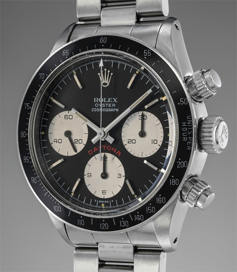 A fine and rare stainless steel chronograph wristwatch with bracelet and box