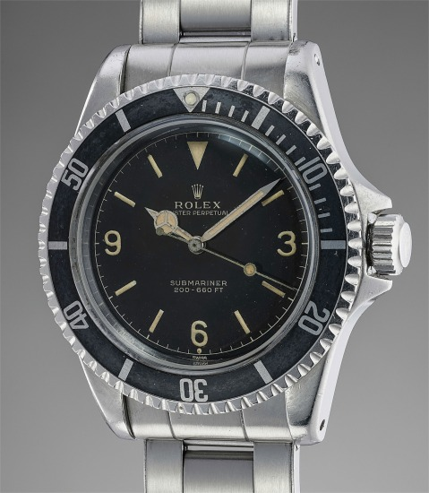"""A rare and early stainless steel diver's wristwatch with black glossy """"exclamation mark"""" Explorer dial and bracelet"""
