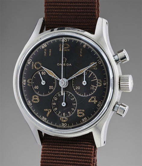 A fine and very rare stainless steel chronograph wristwatch with black dial and engraved case back, made for the Argentinian Air Force