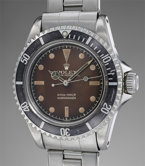 "A fine and extremely rare automatic diver's wristwatch with center seconds, brown tropical ""exclamation mark"" dial, pointed crown guard and bracelet"