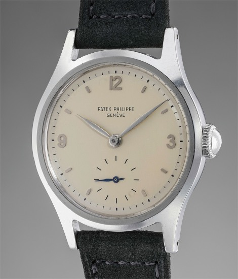 An extremely rare and highly attractive stainless steel wristwatch with two-tone silver dial