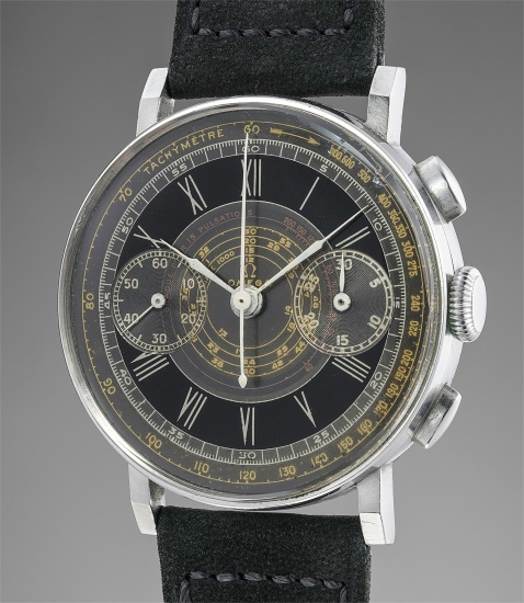 A rare and attractive stainless steel chronograph wristwatch with grey and black multi-scale pulsations dial and angled lugs
