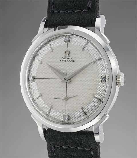 An exceedingly rare, large and extremely attractive platinum and diamond-set wristwatch with two-tone honeycomb dial, ordered as a single piece