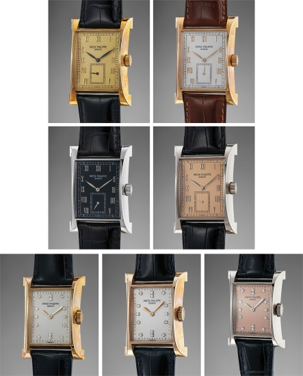 An exceptionally rare set of 4 men's and 3 ladies' rectangular commemorative limited edition wristwatches with Certificates, Attestations, COSC certifications, and special group presentation box with medal, made to commemorate the inauguration of Patek Philippe new Geneva workshop