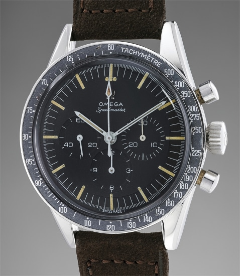 A fine and attractive stainless steel chronograph wristwatch with black tachymeter bezel