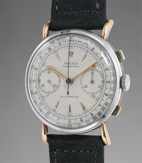 A fine and rare pink gold and stainless steel chronograph wristwatch with tear-drop lugs