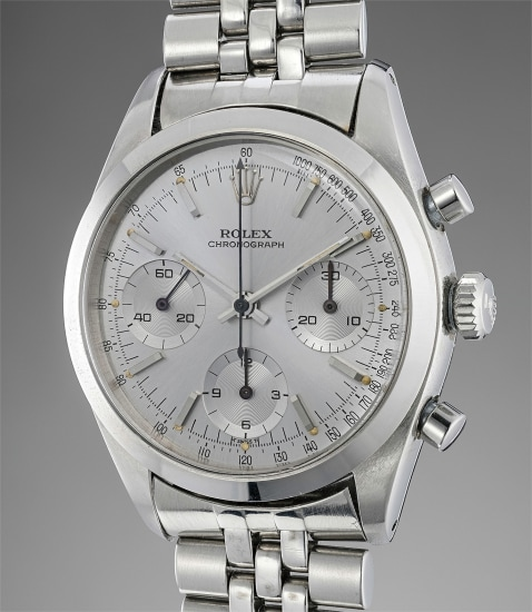 A fine and very rare stainless steel chronograph wristwatch with dark grey dial