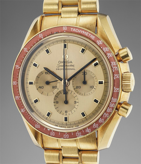 A very fine and rare limited edition yellow gold chronograph wristwatch with burgundy bezel, Apollo XI engraved case back, bracelet and original guarantee
