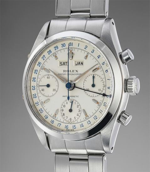 A very fine, rare and incredibly well-preserved stainless steel triple calendar chronograph wristwatch with bracelet