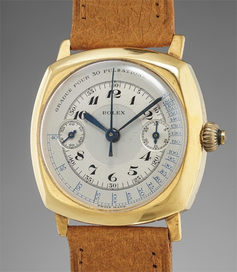 An extremely rare and attractive yellow gold cushion-shaped single button chronograph wristwatch with two-tone pulsations dial and Breguet numerals