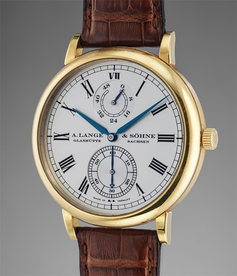 A fine and very rare limited edition yellow gold automatic wristwatch with power reserve, zero seconds reset feature and guarantee