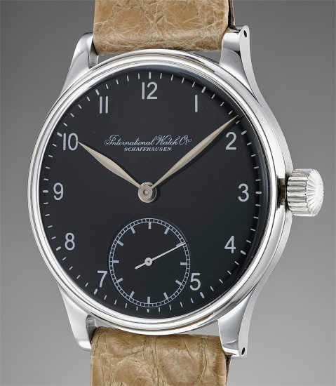 A fine, large and very attractive stainless steel wristwatch with black dial