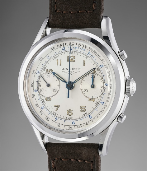 A fine and attractive stainless steel chronograph wristwatch with luminous multi-scale dial