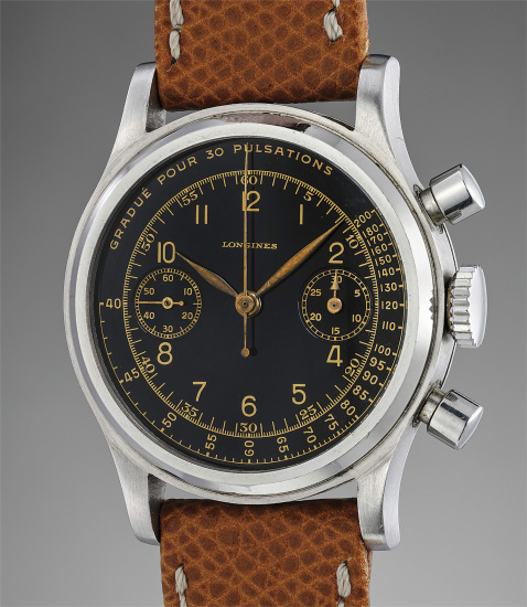 A very fine, rare and attractive stainless steel chronograph wristwatch with glossy black dial and gilt pulsometer scale