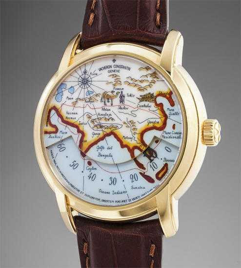 A very attractive limited edition yellow gold wristwatch with wandering hours and cloisonné enamel dial depicting the travels of Marco Polo